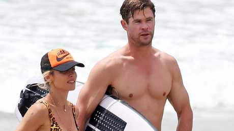 Chris Hemsworth and his wife Elsa Pataky at the beach in Byron Bay. KHAPGG / BACKGRID