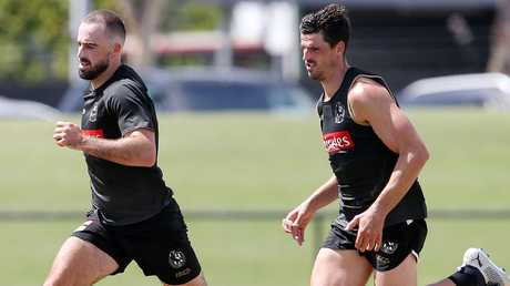 Steele Sidebottom and Scott Pendlebury at Collingwood training. Picture: Michael Klein