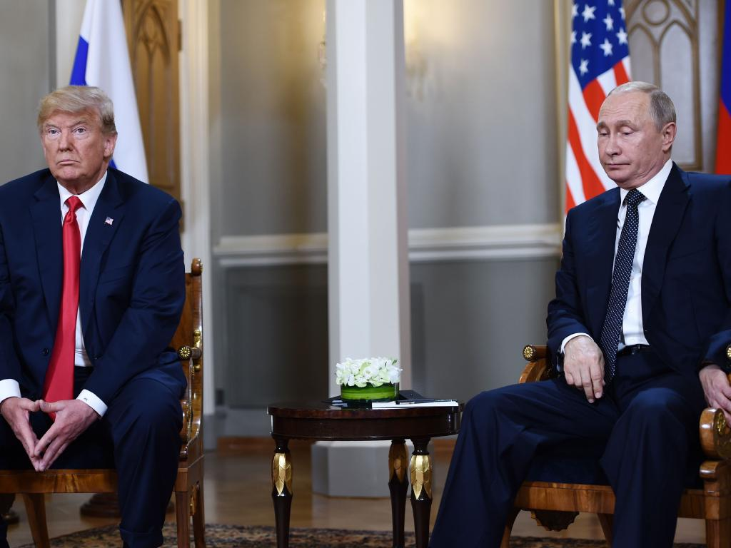 Russian President Vladimir Putin and US President Donald Trump attend a meeting in Helsinki, on July 16, 2018. Picture: AFP