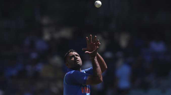 India's Ambati Rayudu retrieves the ball before bowling against Australia. Picture: AP