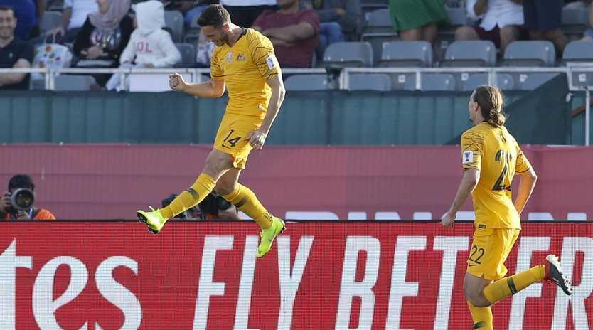 Apostolos Giannou celebrates after scoring against Palestine. Picture: AP