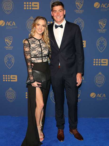 Matt and Josie arrive at the 2018 Allan Border Medal at Crown Palladium on February 12, 2018 in Melbourne. Photo: Graham Denholm/Getty Images