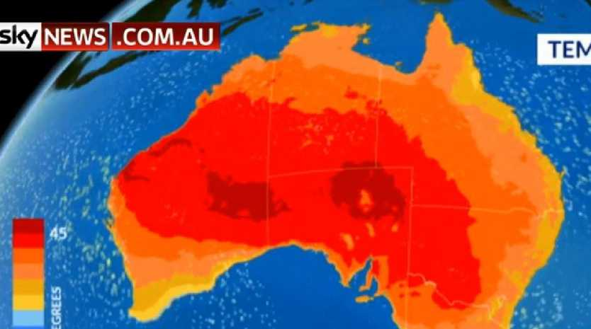 An exceptional heatwave is heading across south eastern Australia. Picture: Sky News Weather channel