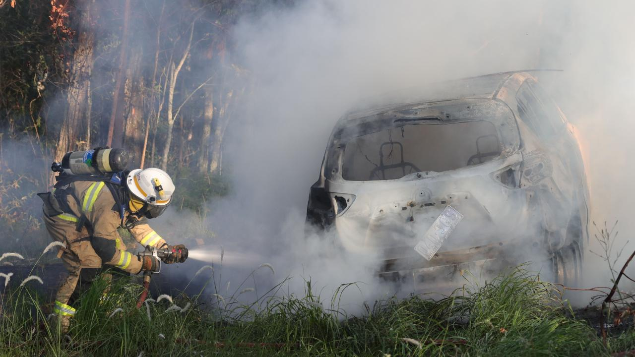 The car was destroyed in the blaze Picture Glenn Hampson