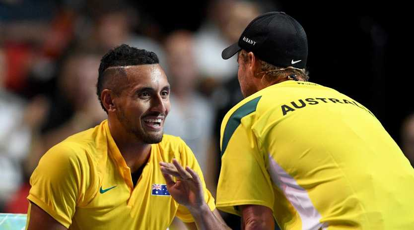 Lleyton Hewitt speaks with Nick Kyrgios.