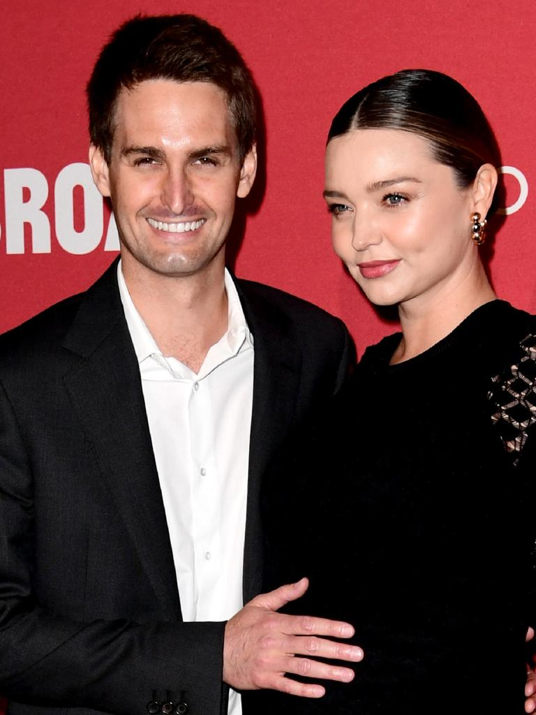 Snapchat founder Evan Spiegel and his wife, Australian model Miranda Kerr. Picture: Getty