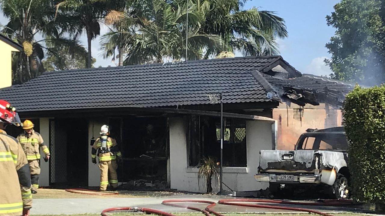 An Ashmore house destroyed by fire on the corner of Baleh Street and Mingaletta Drive. Picture: Emily Halloran