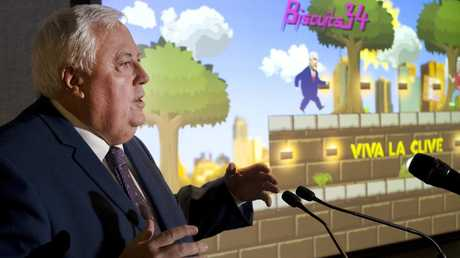 United Australia Party (UAP) leader Clive Palmer, at the launch of his Australian Politics themed App game. Picture: AAP/Jeremy Piper
