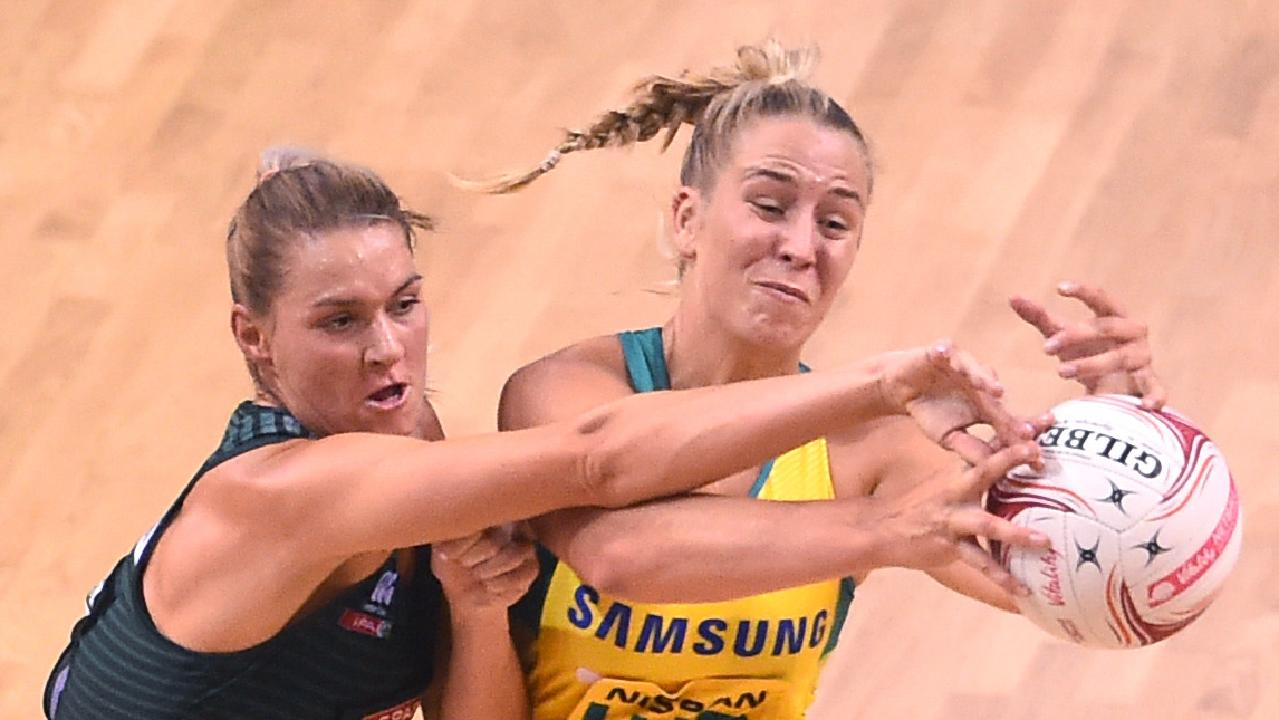 Jamie-Lee Price and South Africa's Karla Pretorius during the Netball Quad Series at Echo Arena in Liverpool.