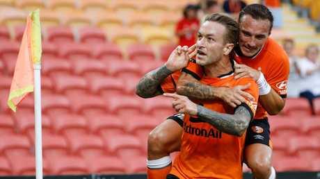 Adam Taggart is still firing despite Brisbane's problems. (AAP Image/Glenn Hunt)