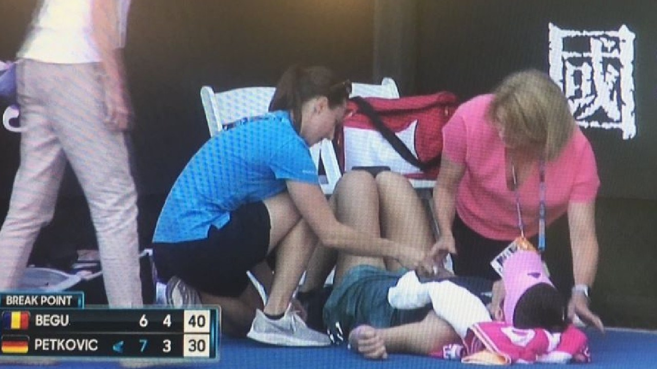 Andrea Petkovic was unable to continue.