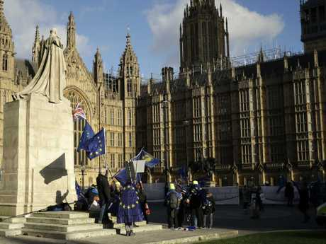 Pro-Europe demonstrators outside the Houses of Parliament. Police have warned of more protests this week. Picture: AP/Matt Dunham