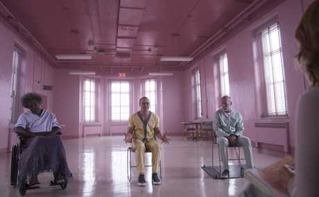 Samuel L Jackson, James McAvoy and Bruce Willis in a scene from the movie Glass.