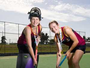 Under 15 hockey players Jordan Bliss and Claire
