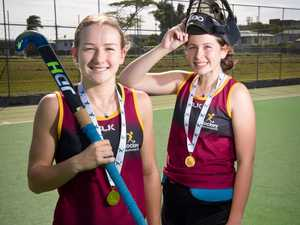 Under 15 hockey players Claire Colwill and Jordan