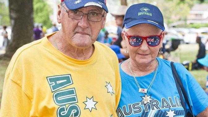 PROUDLY AUSSIE: There was no doubting Greg Acworth and Joyce Keleidon's allegiance as they headed out to enjoy Australia Day celebrations at Picnic Point last year.
