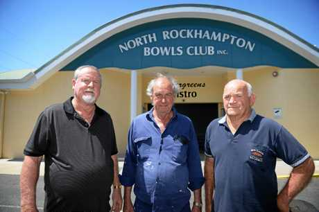 LAST RESORT: North Rockhampton Bowls Club's Allan Gabel, John Shepard and George Ingham. The club is to be auctioned on February 9.