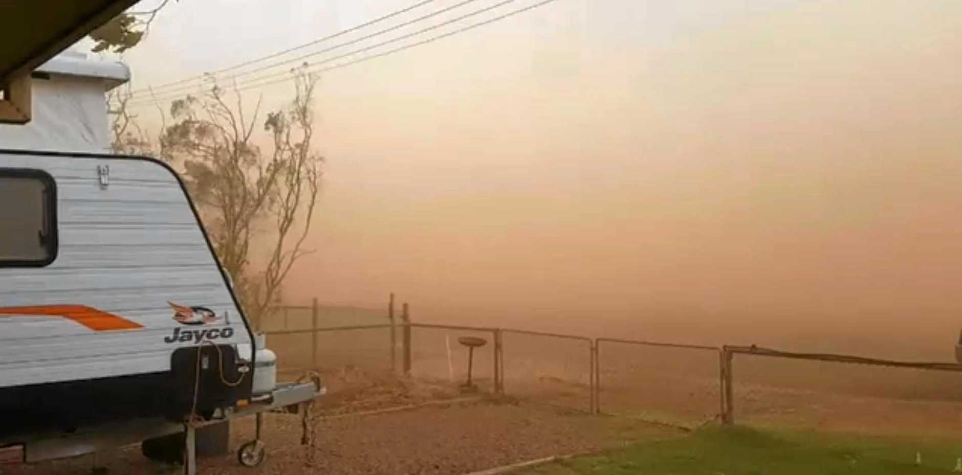 BARELY VISIBLE: Dust storm in Quilpie.