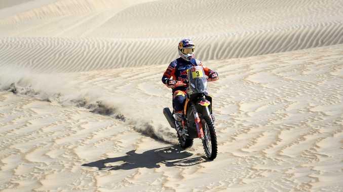 Toby Price on his KTM motorbike during stage seven of the Dakar Rally in San Juan de Marcona, Peru. Picture: Ricardo Mazalan/AP
