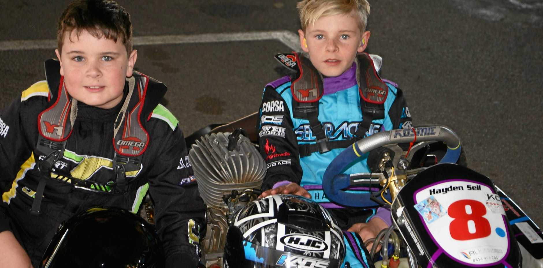 BUDDING RIDERS: Warwick Karting Club members Jayden O'Dea and Hayden Sell were two of the drivers in last year's Queensland Junior Top Guns at Sandy Creek Raceway.