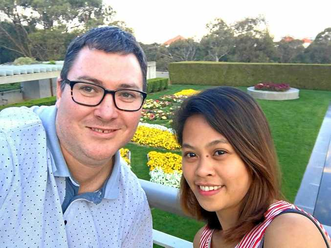 Dawson MP George Christensen and fiancee April Asuncion.