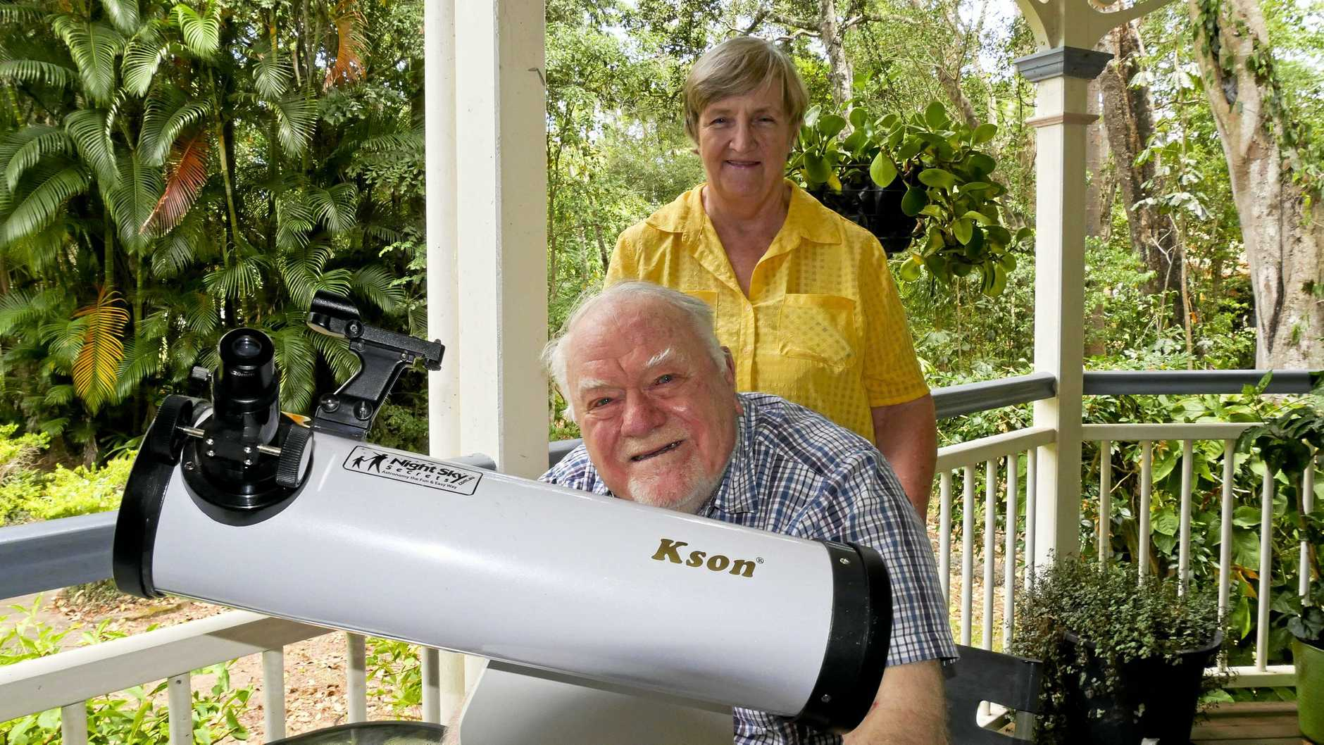 Ray Johnston, 85, and his wife Libby, 68, who have traveled the world in pursuit of astronomy. They currently live in Dundowran Beach