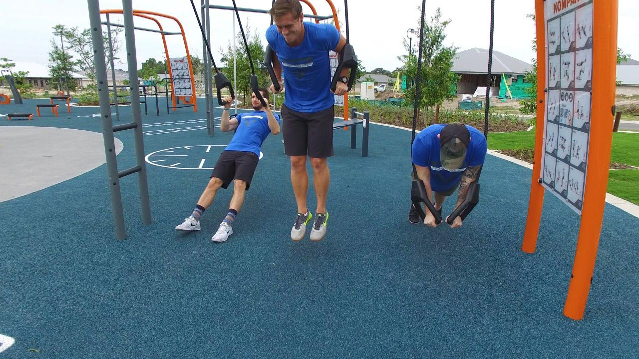 Members of cross fit group Breaking Point Fitness at North Lakes were keen to try out the new exercise park in the Capestone development in Mango Hill.