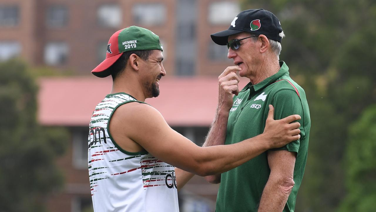 Wayne Bennett (right) chats with Cody Walker (left) at Redfern Oval.