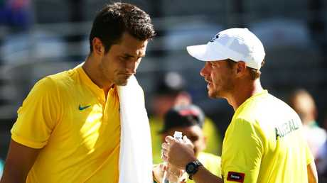The rift between Bernard Tomic and Lleyton Hewitt has reached a flashpoint. Picture: Getty Images
