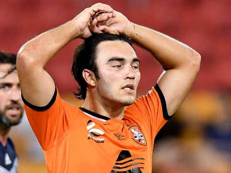 Brisbane Roar's Nick D'Agostino on Tuesday night. Picture: Getty Images