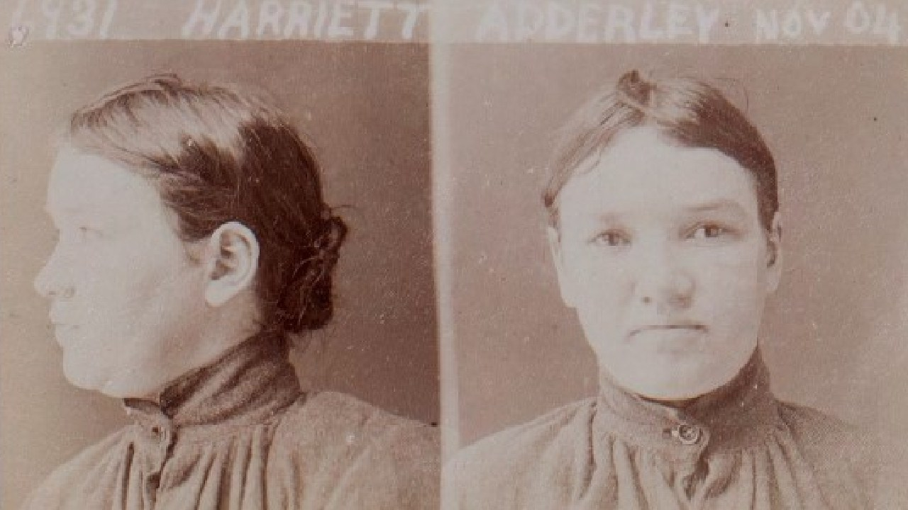 Harriet Adderley's prison mugshot, 1904. Picture: Public Records Office of Victoria