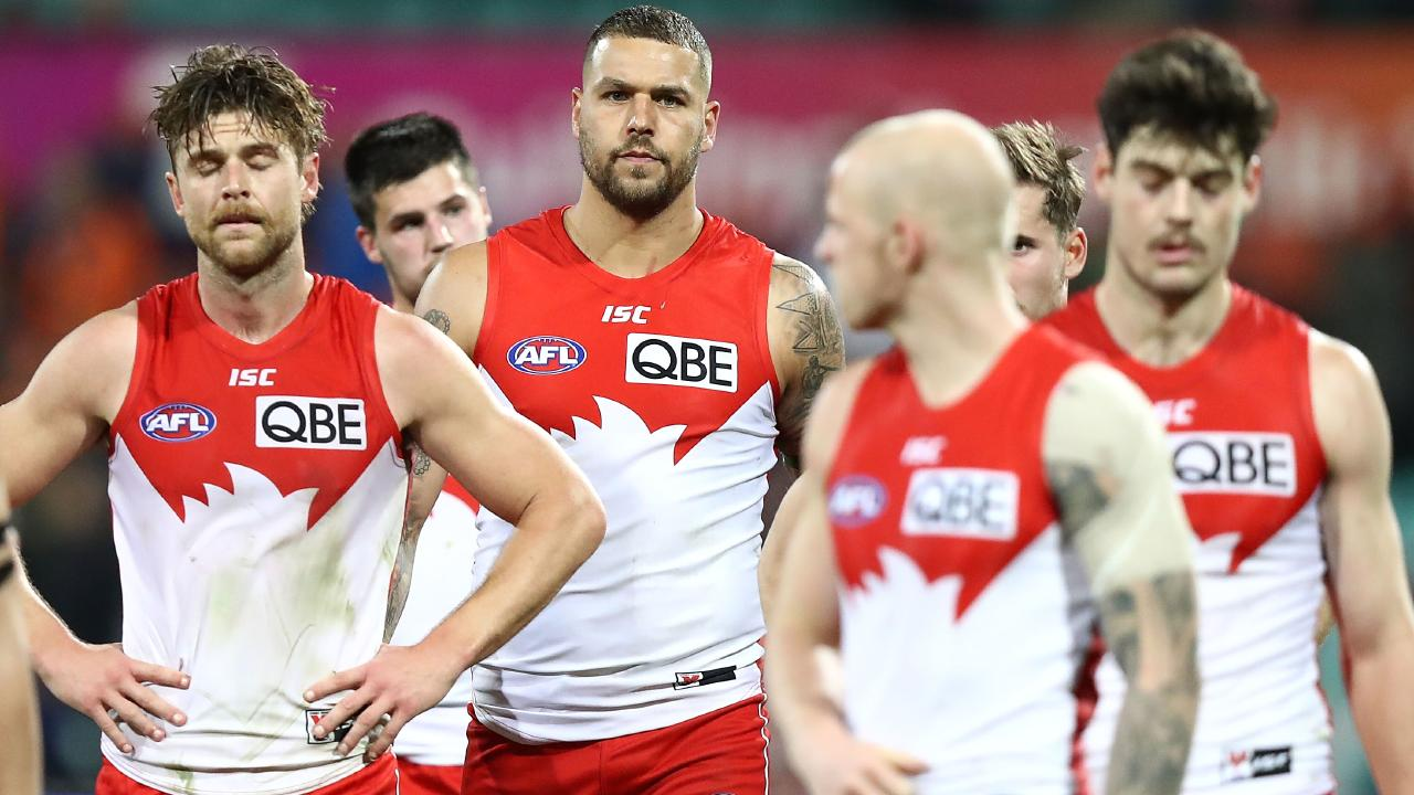 Lance Franklin after Sydney's 2018 season came to an end.