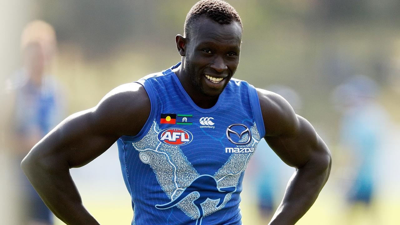 Majak Daw in action at Arden Street Ground on April 19 last year. Picture: Daniel Pockett/Getty Images