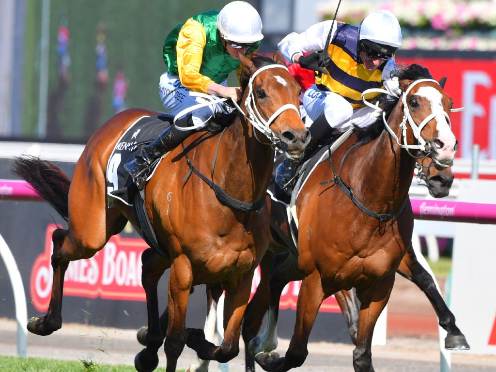 Chris Waller pair Shillelagh (left) and cult racehorse Tom Melbourne contest the Kennedy Mile on Derby Day at Flemington, the venue for the inaugural All-Star Mile.