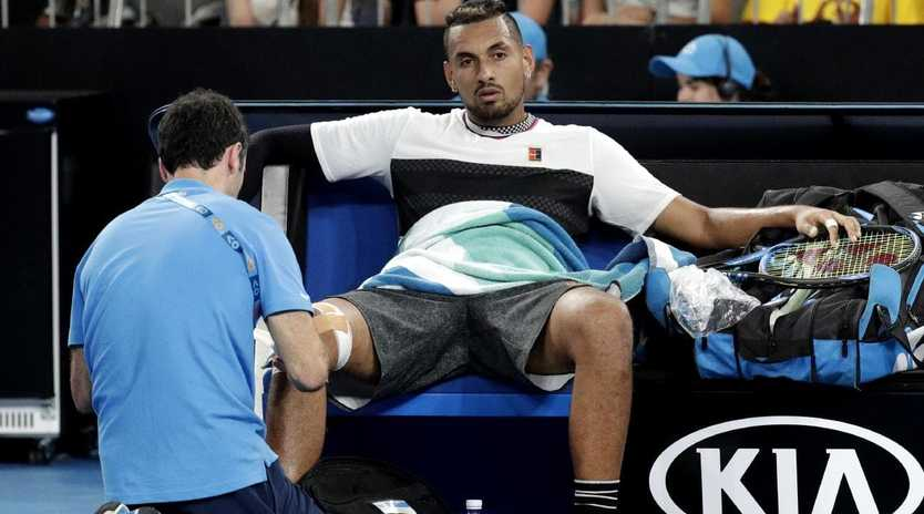 Kyrgios's face says everything. (AP Photo/Aaron Favila)