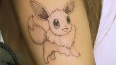 Ariana Grande shared an Instagram story of her latest tattoo, a drawing of Pokemon Eevee. Picture: Instagram
