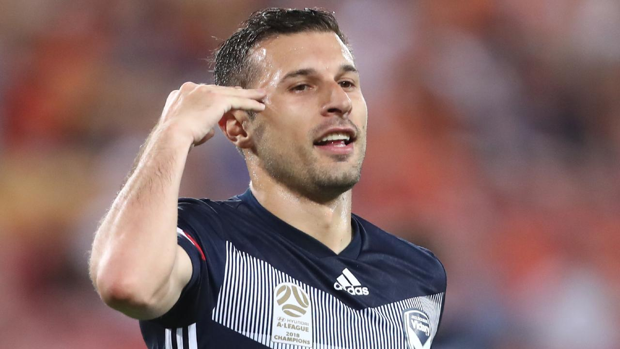 Melbourne Victory striker Kosta Barbarouses celebrates scoring against Brisbane Roar on Tuesday night. Picture: Getty Images