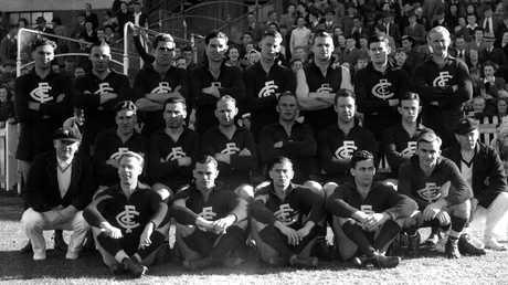 """The Carlton Football Club that won the 1945 """"Bloodbath"""" Grand Final at Princes Park."""