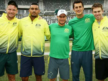 This September 2017 photo shows a much more united Australian Davis Cup squad. L-R: Sam Groth, Nick Kyrgios, Lleyton Hewitt, Bernard Tomic and John Peers. Picture: Matt King/Getty Images