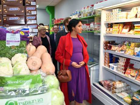 The Duke and Duchess of Sussex view a Feeding Birkenhead citizens supermarket as they officially open Number 7 in Birkenhead. Picture: Anthony Devlin/Getty