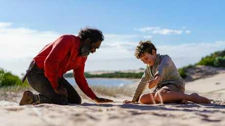 Trevor Jamieson (Fingerbone Bill) and Finn Little (Mike Kingley) in Storm Boy.
