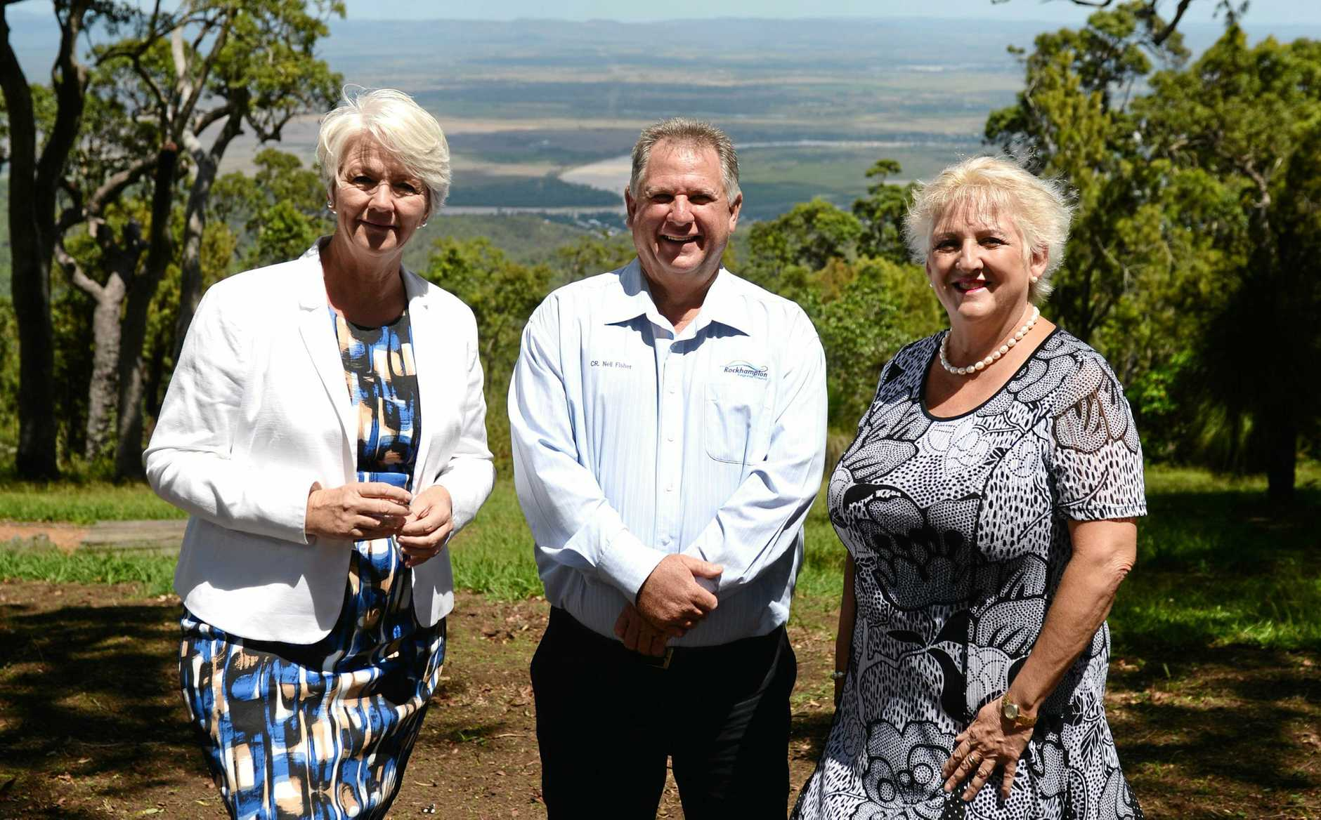 Mayor Margaret Strelow, Cr Neil Fisher and Michelle Landry MP at Mt Archer which has received federal money for a new ammenity block.