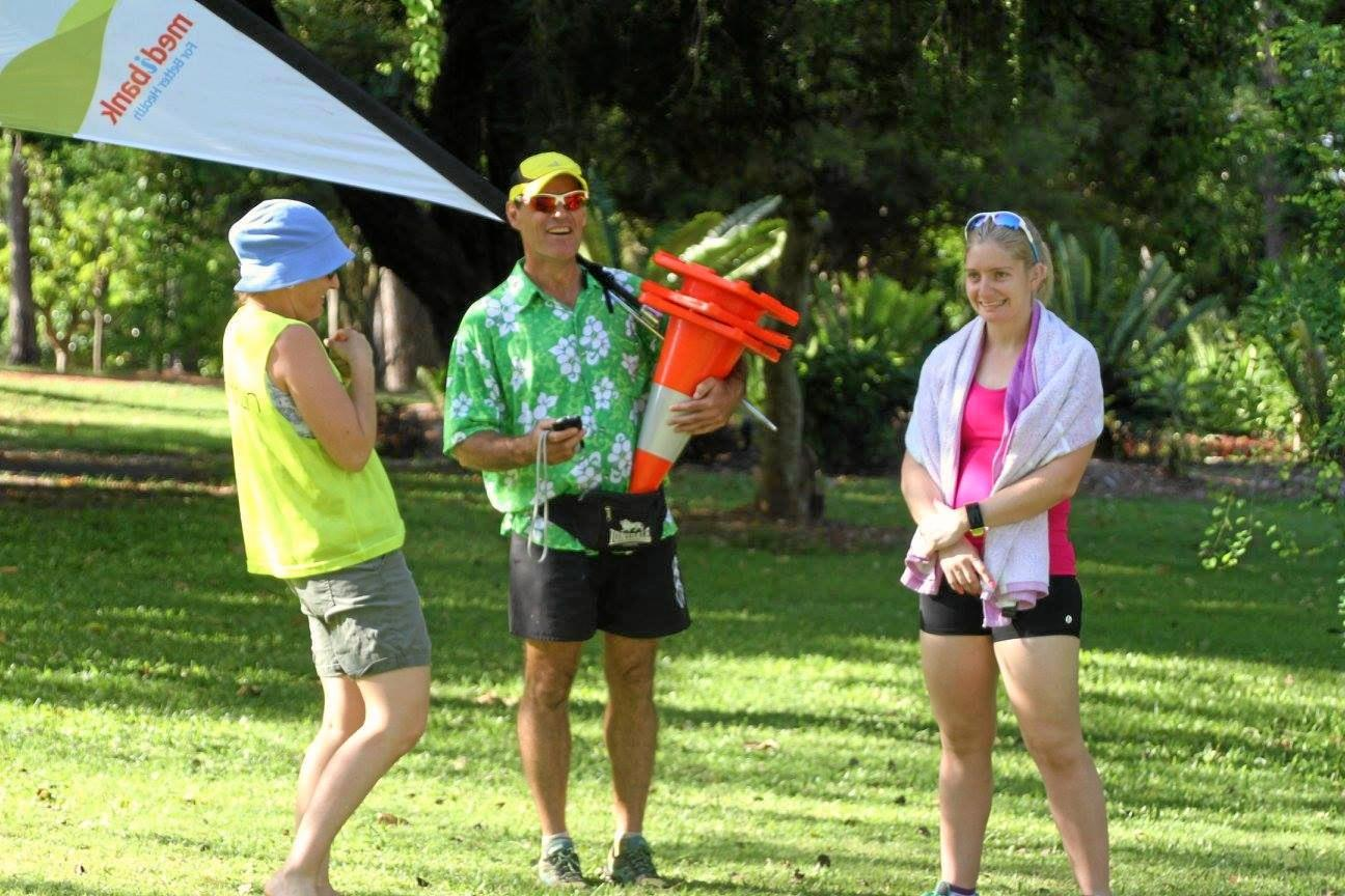 Rockhampton parkrun director Craig McCormack prepares the course for the weekly event.