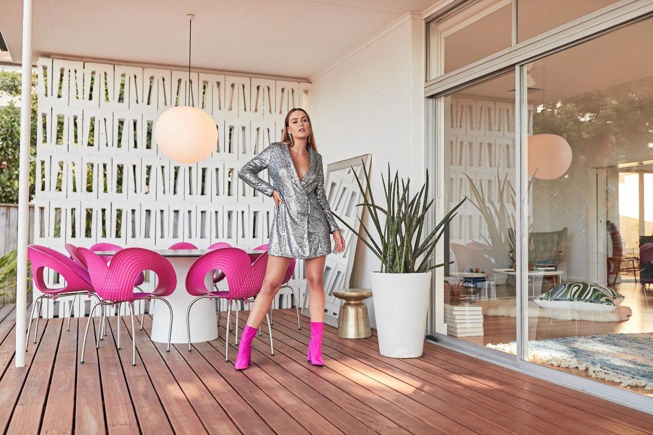 Boohoo Sequin Wrap Over Blazer Dress, $86, and Boohoo hot pink block heel sock boots, $72, au.boohoo.com