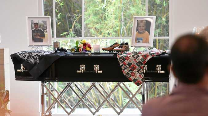 Family and friends attend the funeral of Nyles Reynders in Nambour.