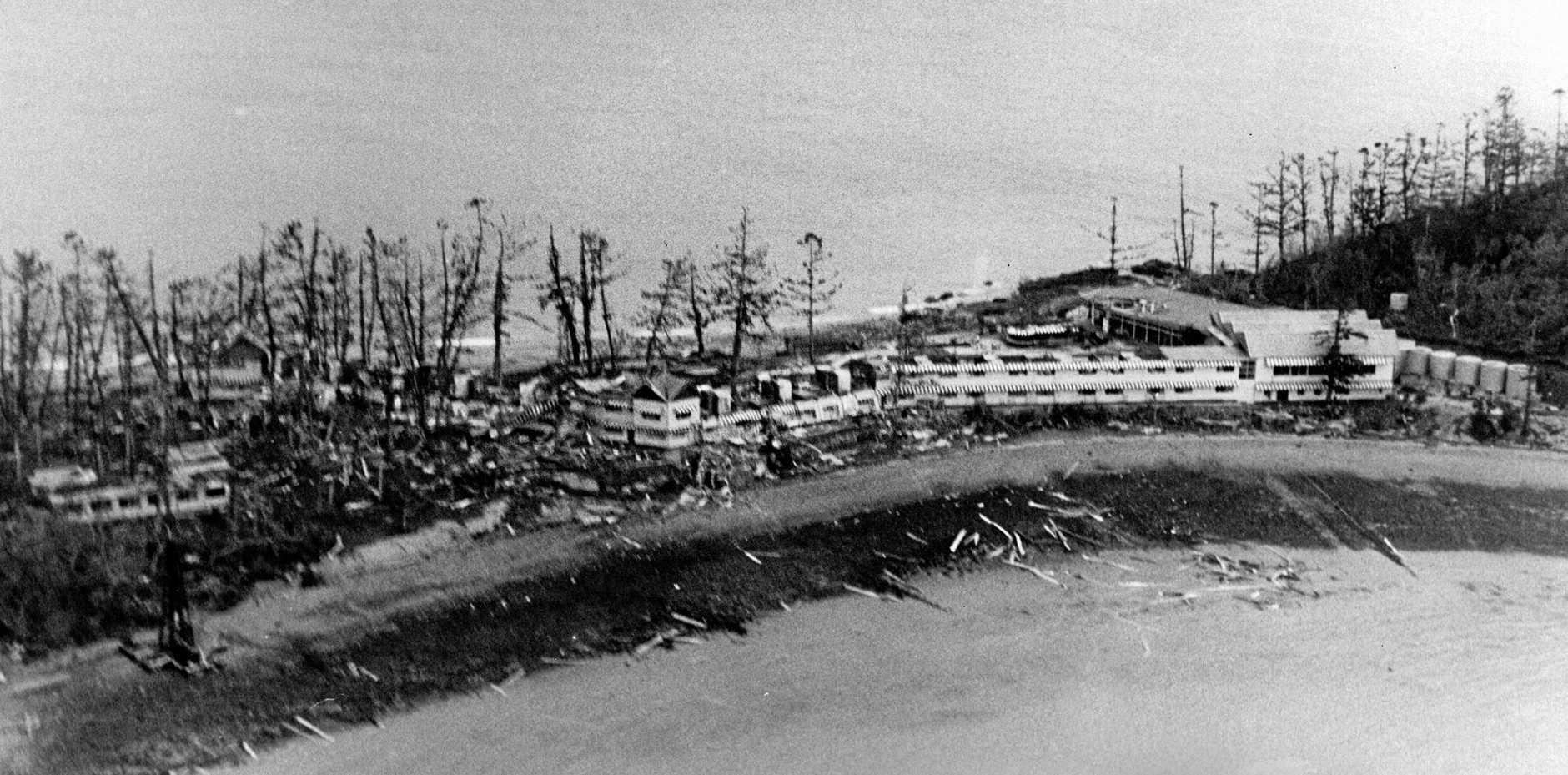 DISASTER: Daydream Island after Cyclone Ada struck, 1970.
