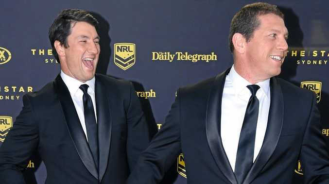 FUNNY GUYS: Former NRL stars Nathan Hindmarsh and Bryan Fletcher are coming to Byron Bay for a sports lunch at Red Devil Park.