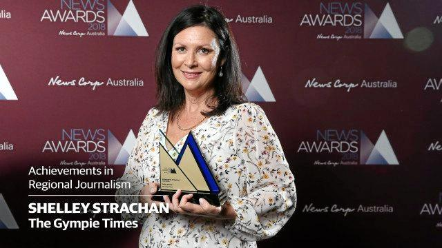 The Gympie Times editor Shelley Strachan with the coveted 2018 News Corp Australia Achievements in Regional Journalism award.