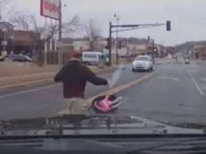 Dash-cam films kid's fall from moving car