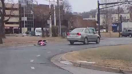Baby falls out of a car in the US state of Minnesota. Picture: Facebook